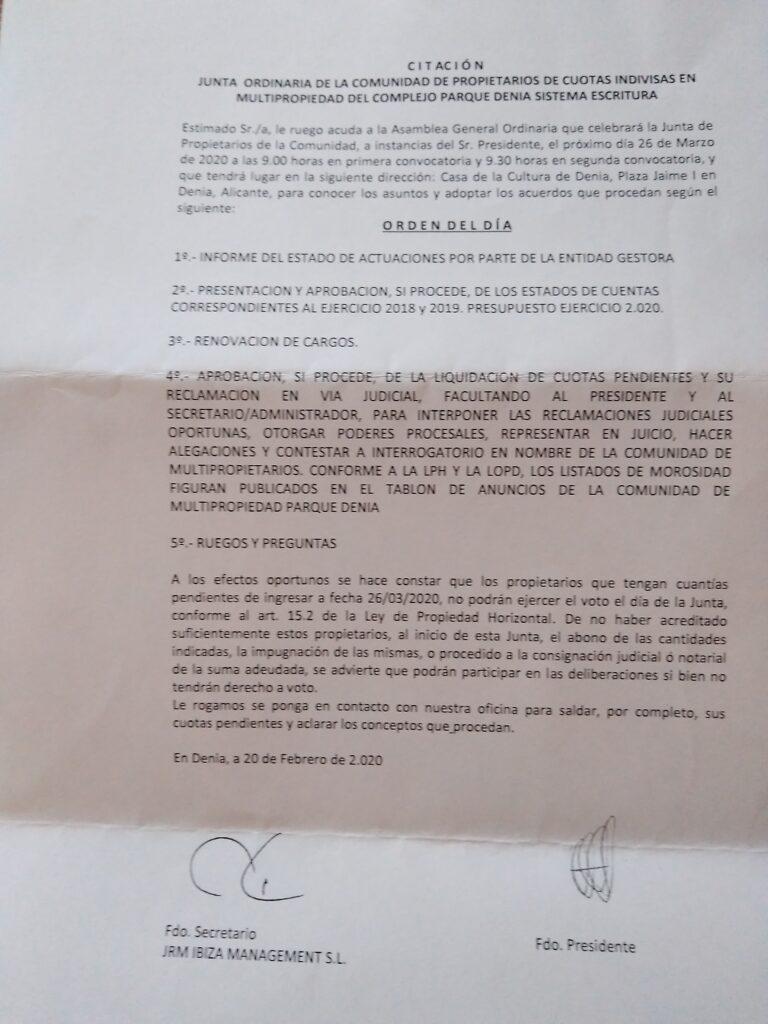 JUNTA PROPIETARIOS PARQUE DENIA